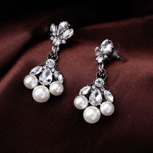 Faux Pearl with Cubic Zircon Statement Earrings